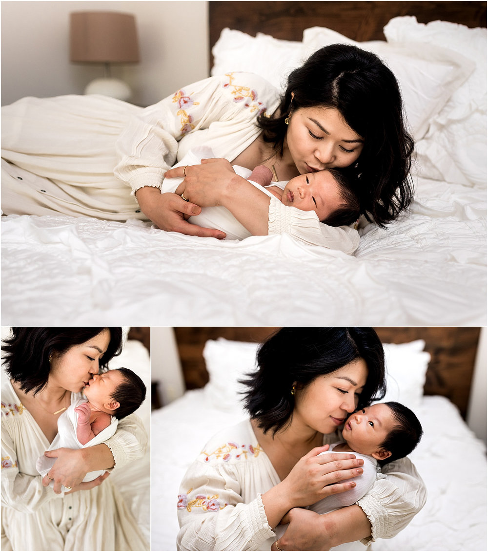 Sweet baby boy in home newborn session features minimal white details and all things modern. Family cuddles, big sister hugs, and all the mama love one can handle make for THE perfect moments.| Dear Marlowe Photography, Houston's Premier Luxury Newborn Lifestyle Photographer