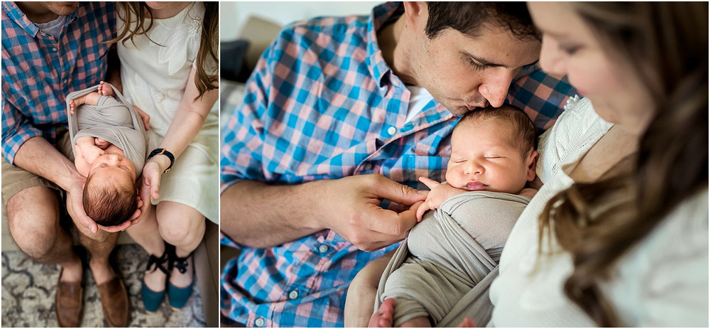 This Katy, TX in home Newborn Lifestyle Session was full of fun, and a little mischief too. Mom and dad cuddle brand new baby girl and make for a beautiful newborn photo session. |Houston, TX Newborn Lifestyle Photographer
