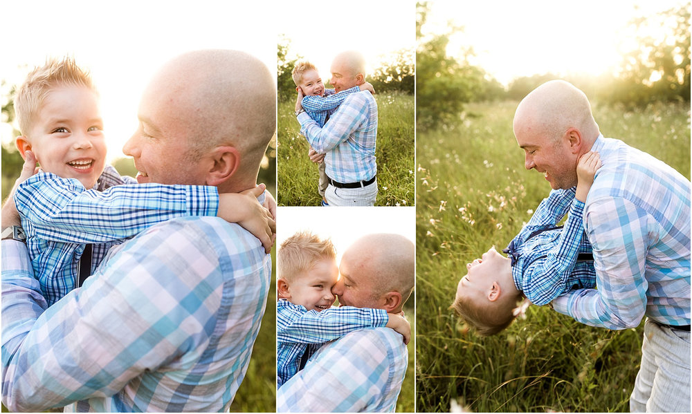 Houston, TX Family Photography featuring beautiful morning light. This sunrise session captures light, love, connection, and cuddles. Daddy and Son share cuddles.