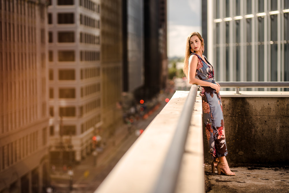 Downtown Houston Rooftop Senior Photo Session