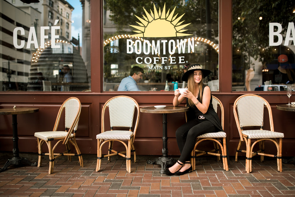 Downtown Houston Senior Photosession at Boomtown Cofee