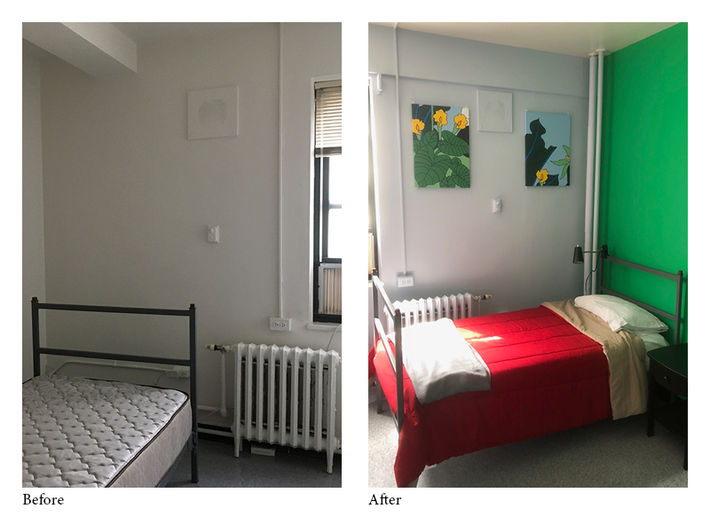 "A ""before and after"" look at one of our rooms after painters from  Titan Builders, Inc.  partnered with CHIL to rehab the space."