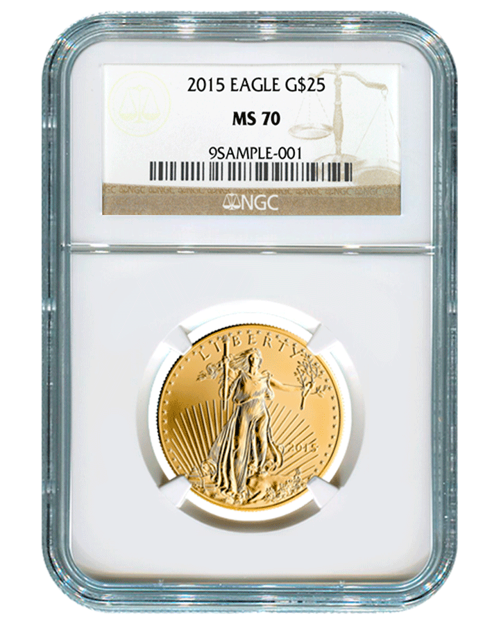 "2015-W ""Burnished"" American Eagle Gold MS-70"