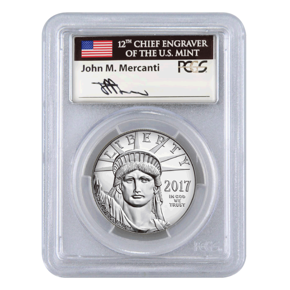 2017 Platinum Eagle, John Mercanti hand-signed label