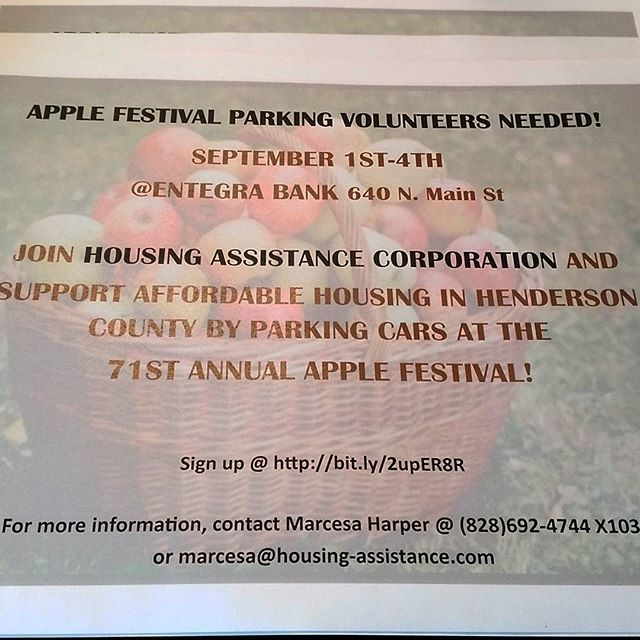 Sign up today to volunteer at this year's Apple Festival. Be a fan of Affordable Housing in Henderson County!  #housingassistance #applefestival #hendo #hendotoday #828 #828isgreat #applefest #affordablehousing #volunteer