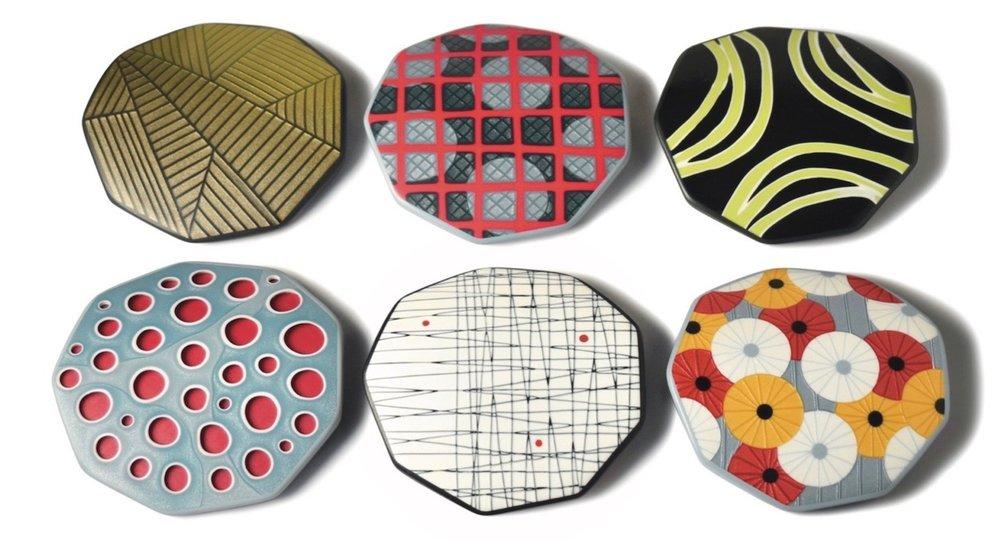 six beads by Dan Cormier, featuring  Single Slice Mokume  veneers