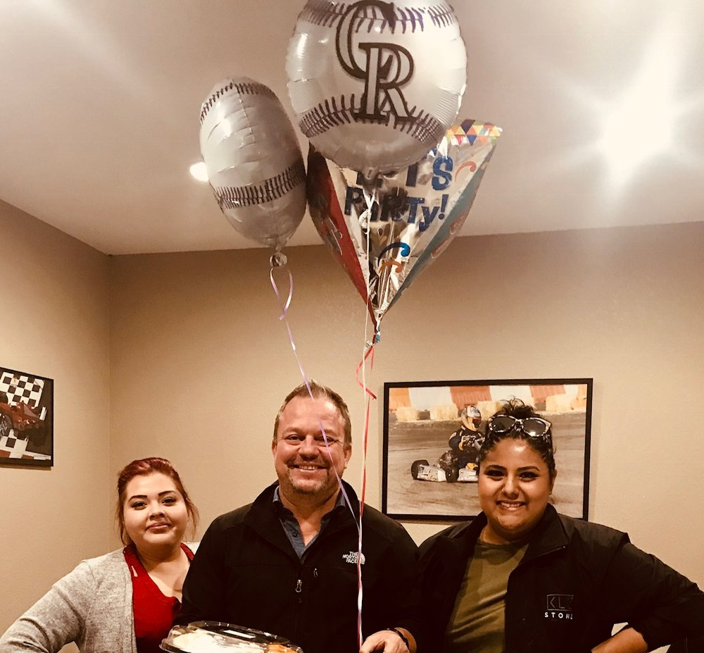 Happy Birthday, Richie! - 10/4/2018Liz and Karla, the lovely ladies who recently moved to Denver from Dallas, celebrated with Rockies balloons and a cheese plate!Not pictured here as is the tradition that originating at the Dallas office of a pie 'gently' slammed into the recipient's face. Richie opted for a slight dab of frosting on the cheek and nose.