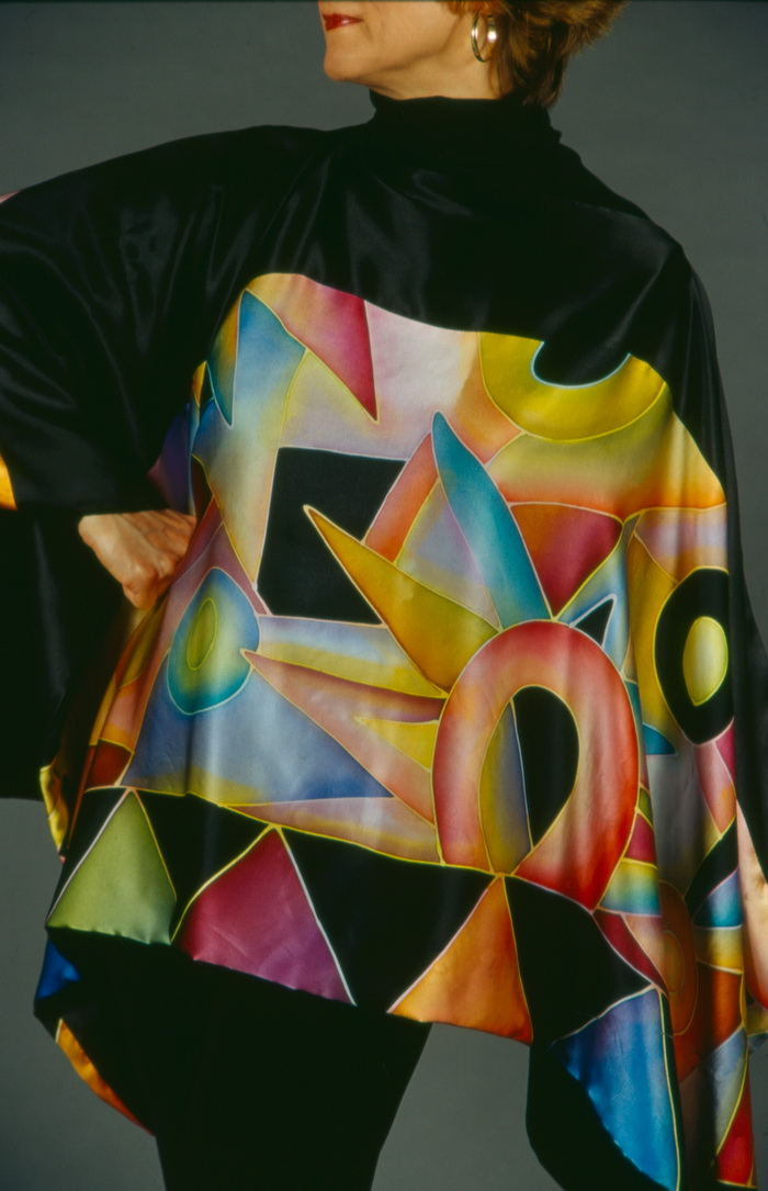 """GEOMETRIC PONCHO""   Dyes on satin silk"