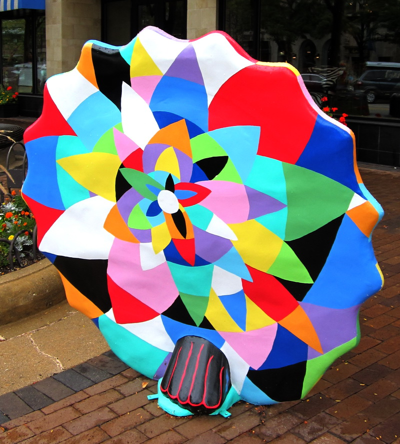 """EYES OF THE STARS"" --back view   Magic Garden Project, 2012  Fiberglass, enamel paints, 5' x 5'"
