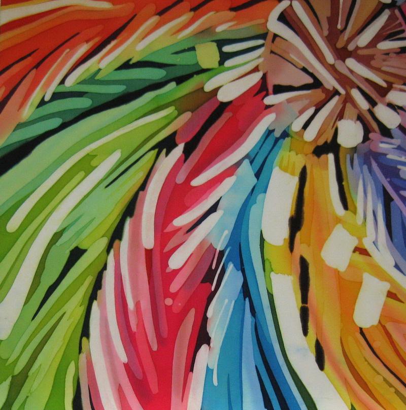 """""""Summer Wheel"""", dyes on silk   20"""" x 20"""""""