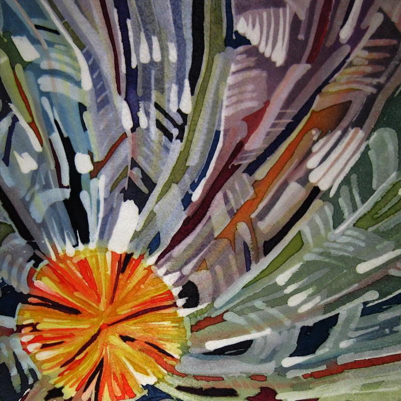 """""""Winter Wheel"""",  dyes on silk  20"""" x 20"""""""