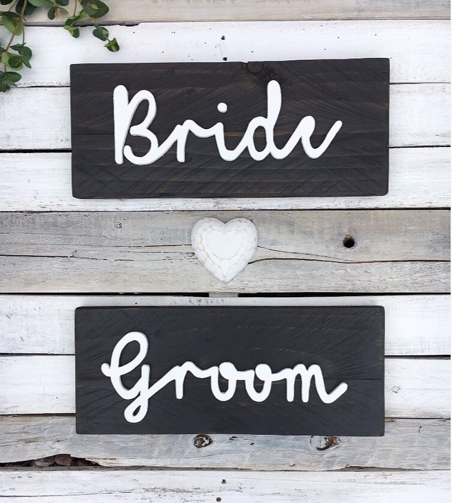 Rustic Modern Wedding Chair Signs