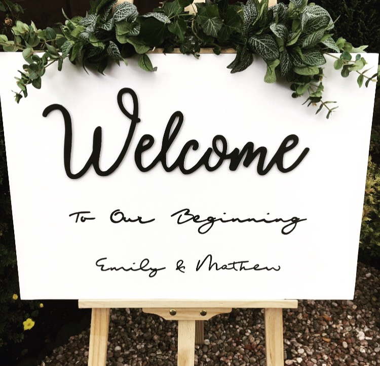 Monochrome Wedding Welcome Sign