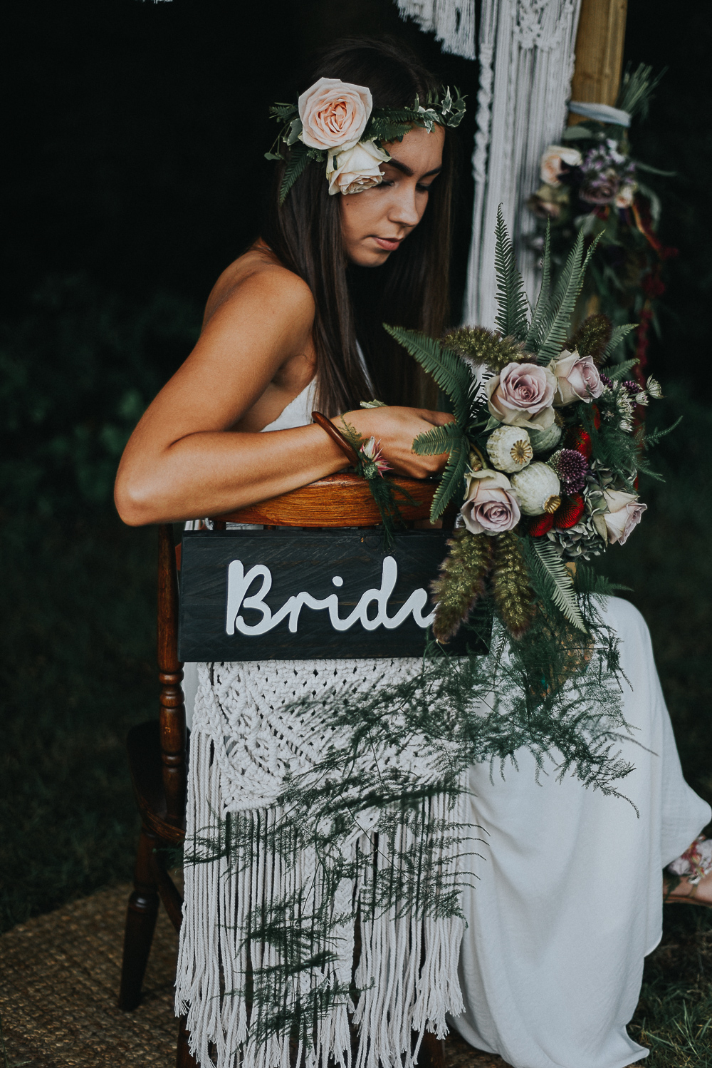 Macrame & Wood Wedding Chair Signs