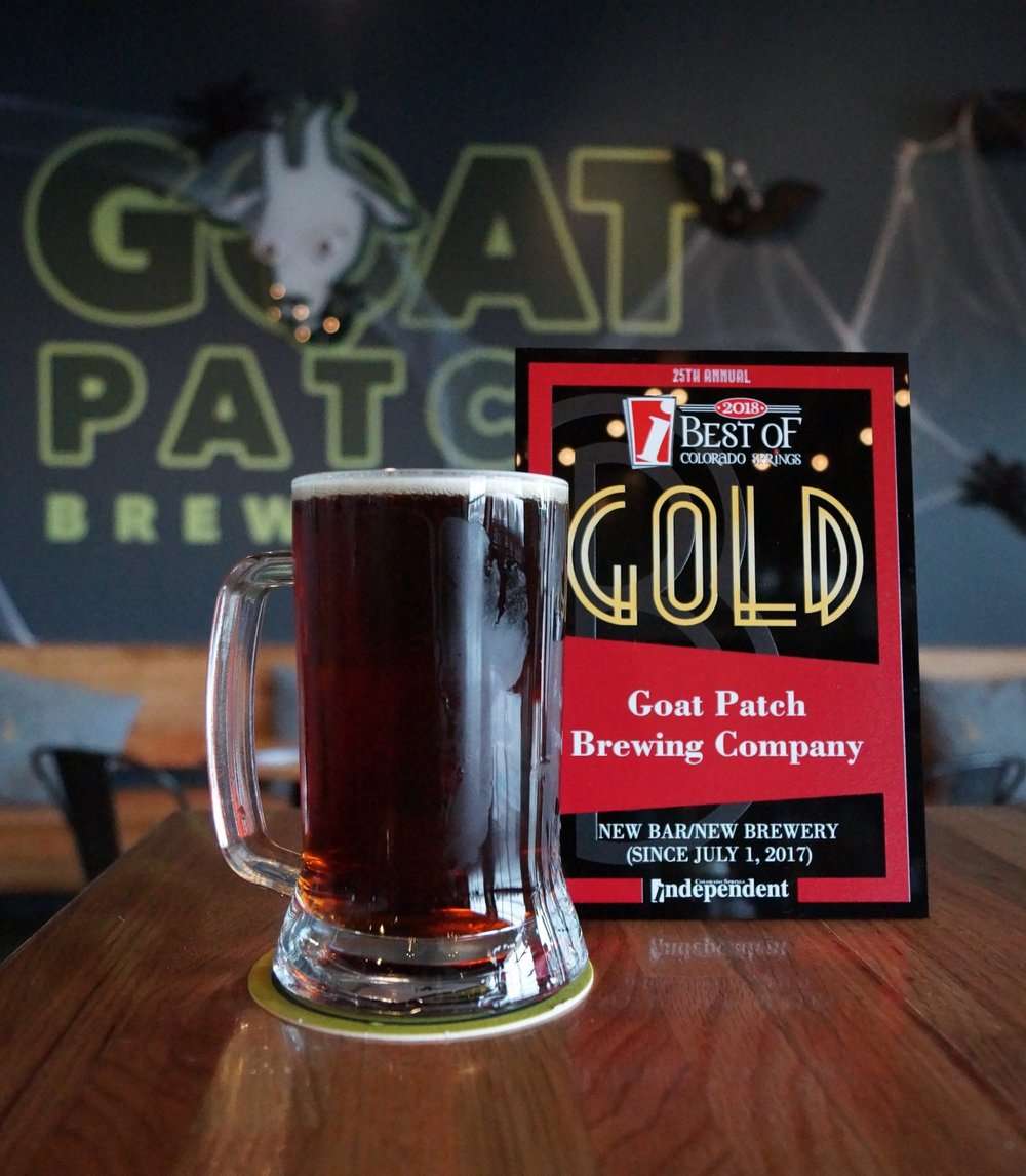 GOLD - Colorado Springs INDEPENDENT BEST OF (2018) NEW BAR/NEW BREWERY - SILVER - COLORADO SPRINGS INDEPENDENT BEST OF (2017) BEST BAR/NEW BREWERYBRONZE - COLORADO SPRINGS INDEPENDENT BEST OF (2018) BREWERY