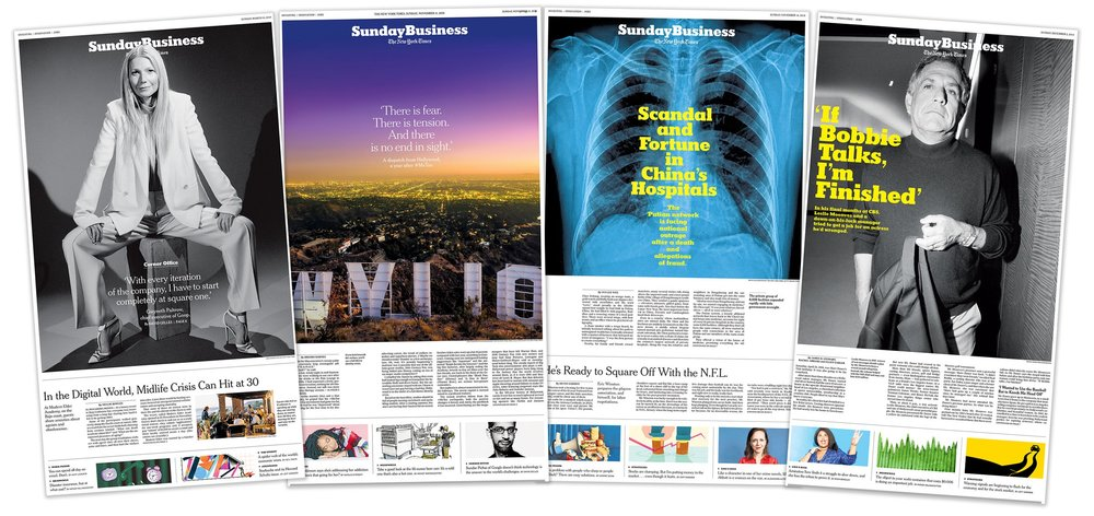 The redesigned Sunday Business section of The New York Times. Role: Producer, Assigning Picture Editor (1,2); Picture Editor (3,4). Photographers: Erik Tanner, Hunter Kerhart, Bruce Gilden/Magnum Photos (right).