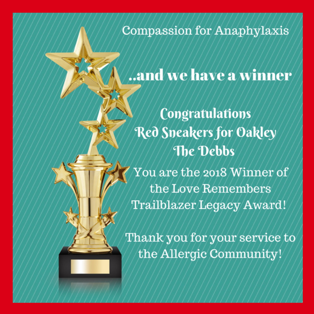 Compassion for Anaphylaxis Recognizes Red Sneakers for Oakley with the 2018 Trailblazer Legacy Award. - Compassion for Anaphylaxis Recognizes Red Sneakers for Oakley