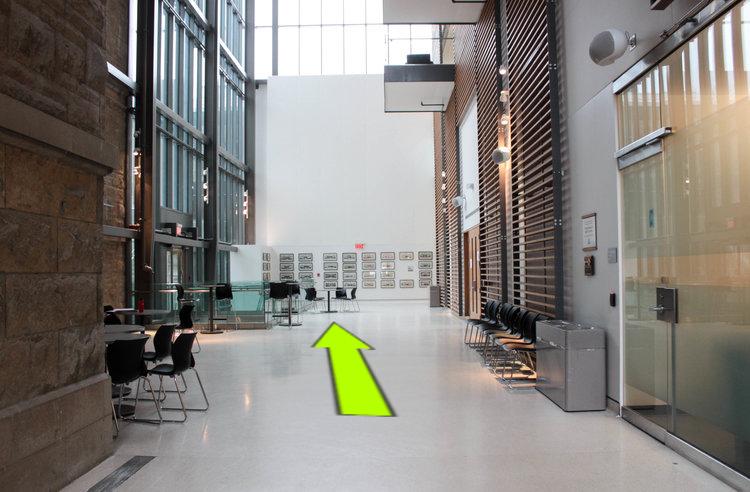 - 2. Enter the lobby and walk through the David M. C. Walker Atrium.
