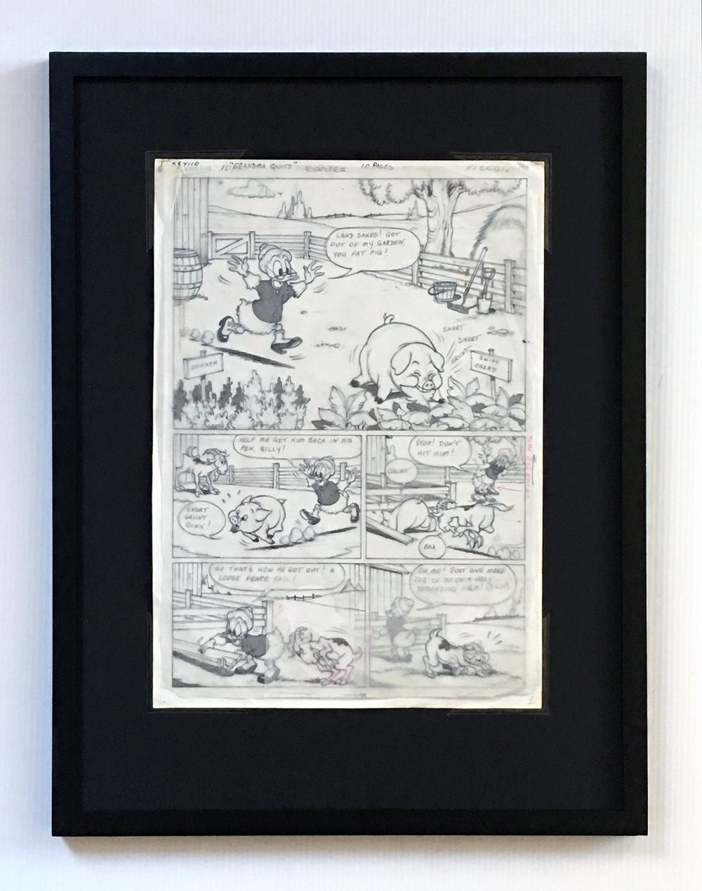 Penciled Layer Displayed above Inked Layer - Framing Materials Sold Separately