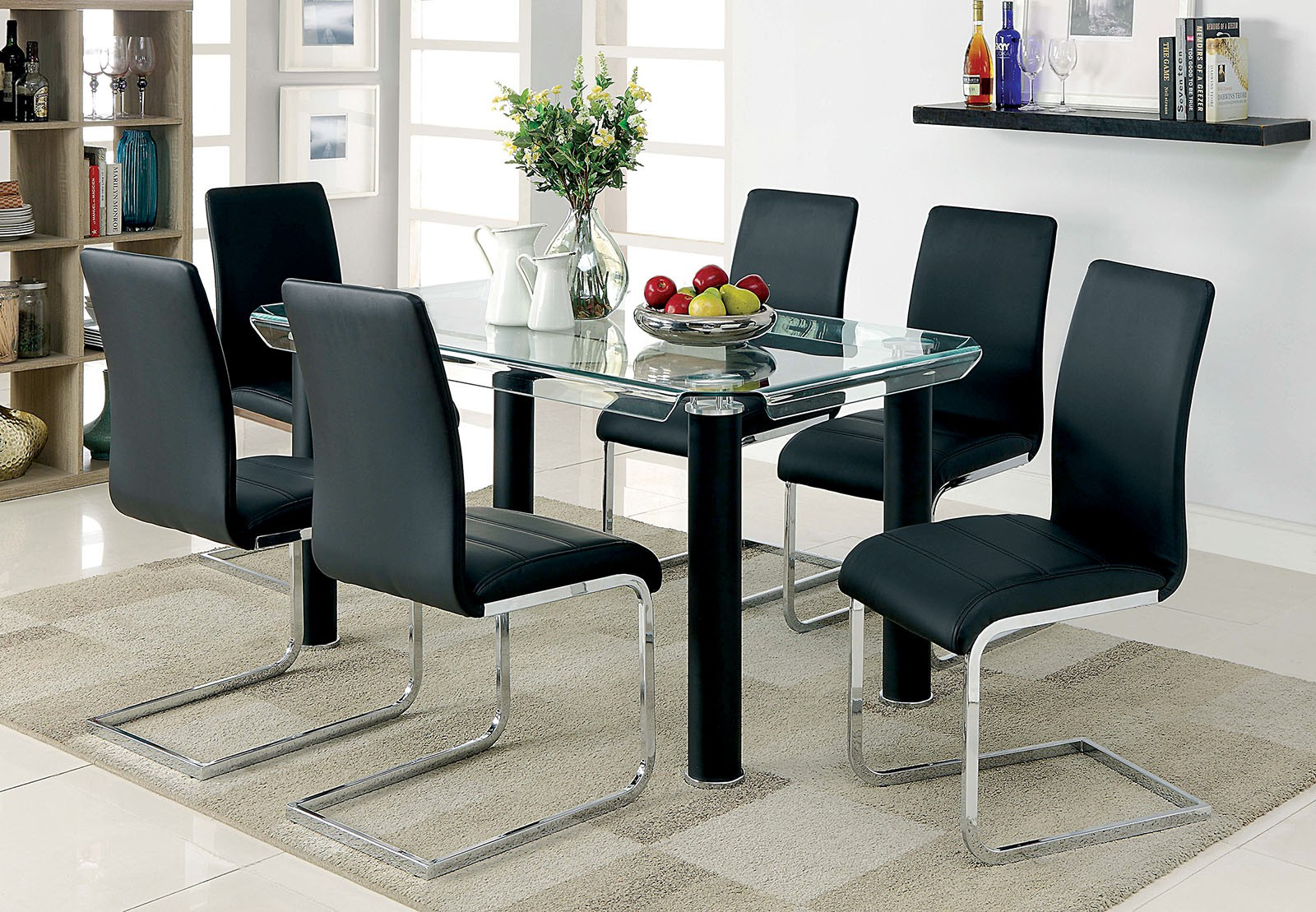 WALKERVILLE I / 5 Or 7 Piece Dining Set With Glass Top In Black ...