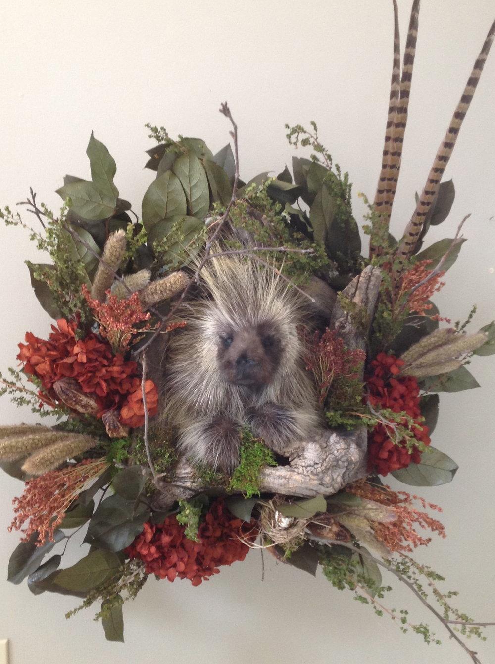 Porcupine dressed in autumn