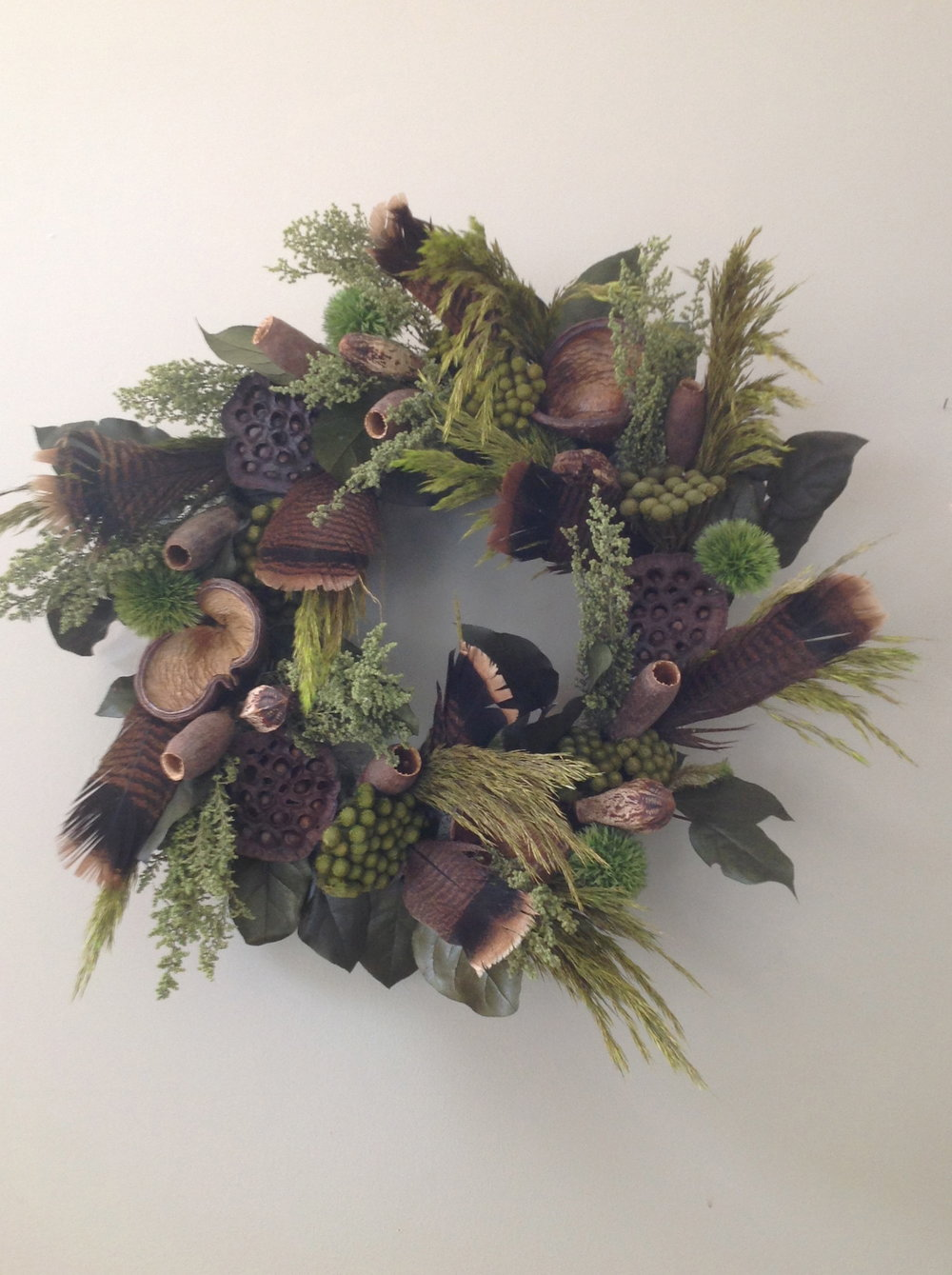 rustic feather wreath