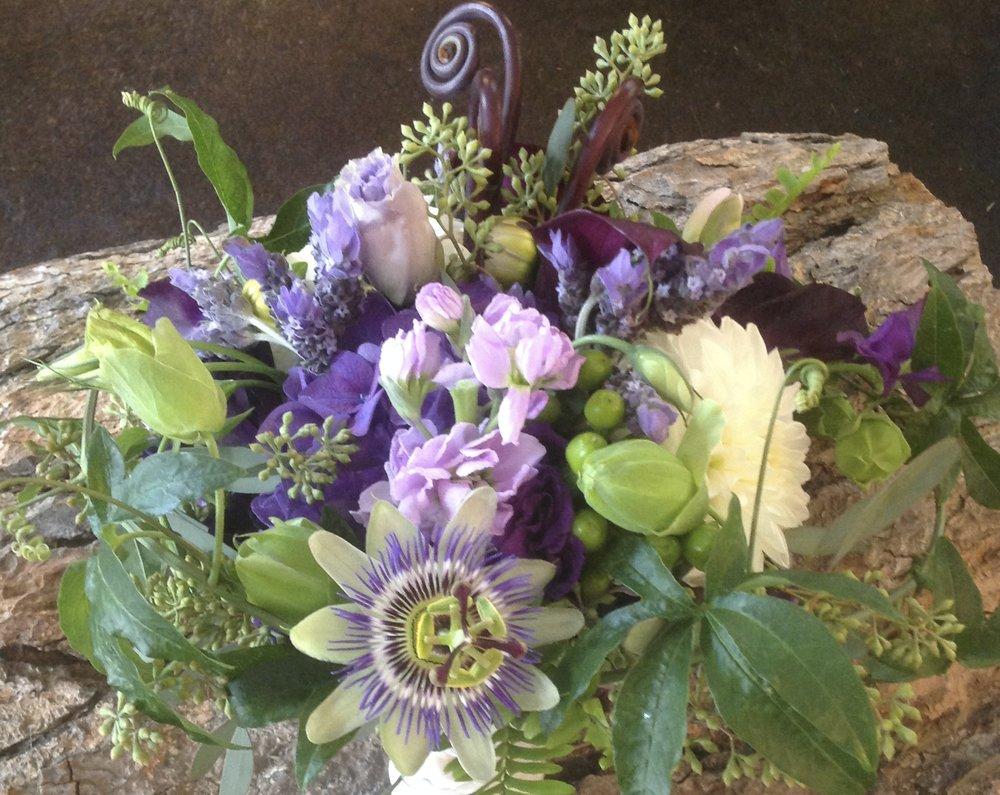 purple passionflower bouquet