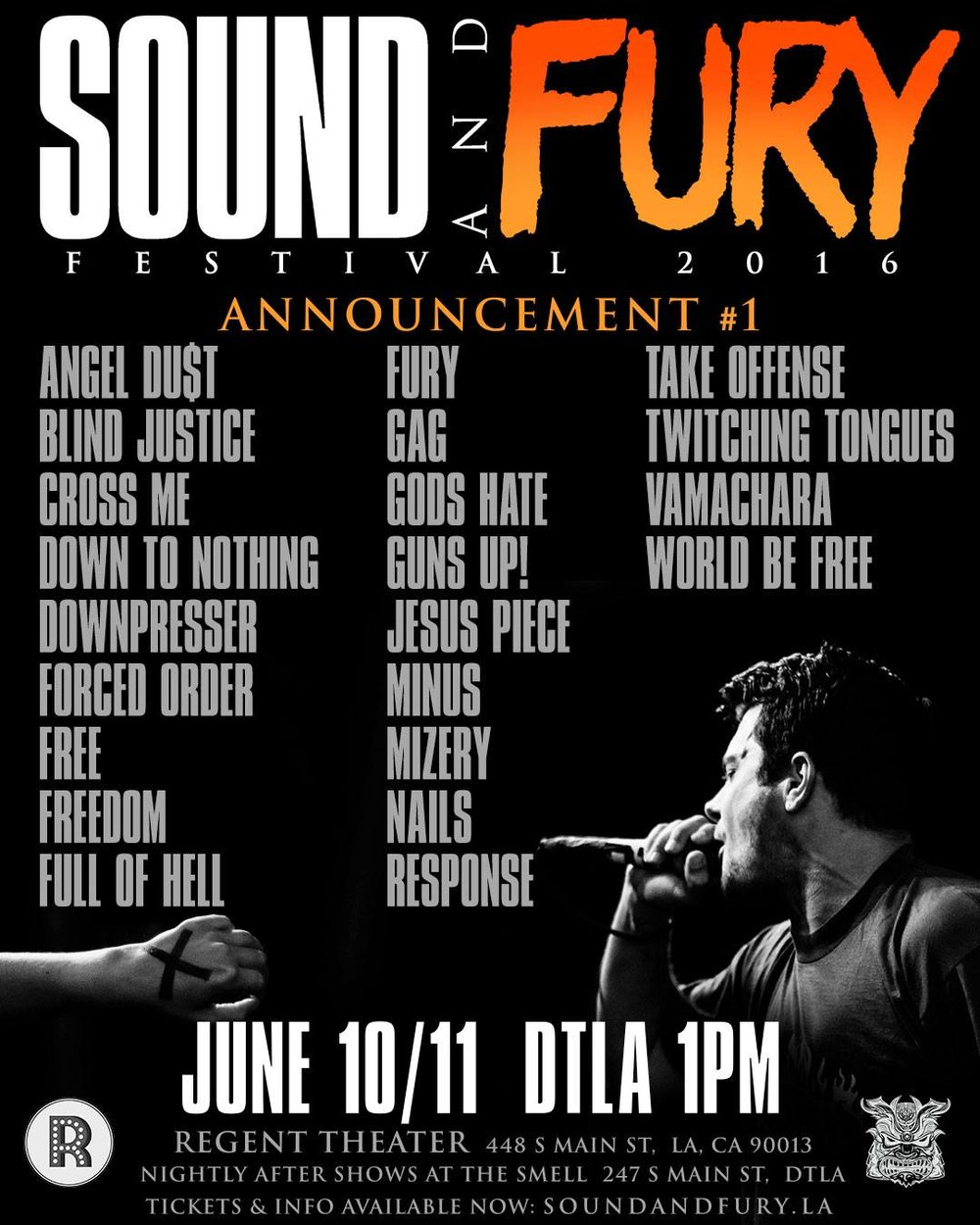 - Live photograph used for the official SOUND AND FURY 2016 flyers + OG passes.