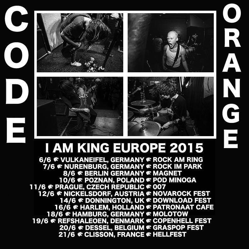 - Live photograph used for CODE ORANGE's European tour flyer (top right photo).