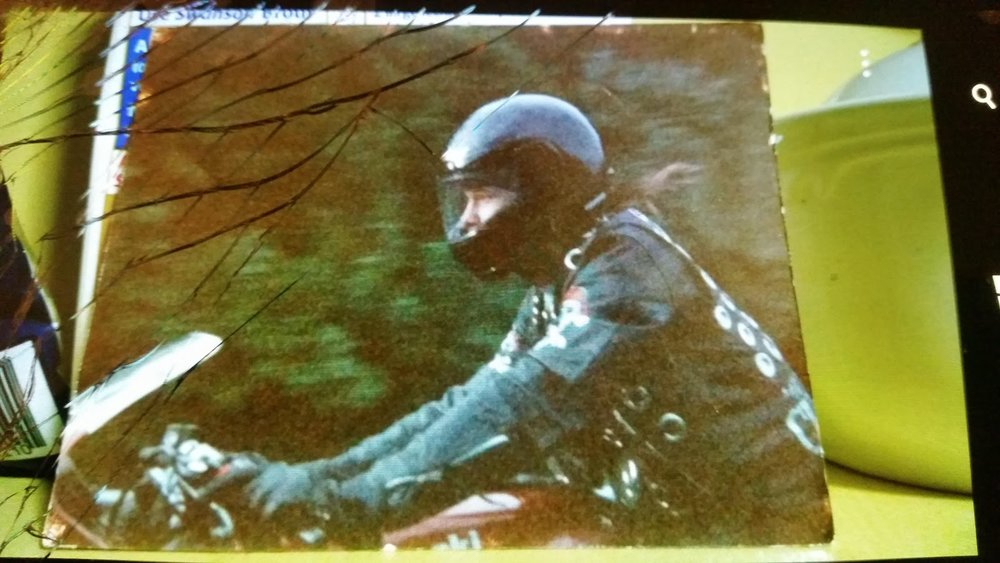 The picture Amy took of Donnie Wahlberg riding a motorcycle in 1990.