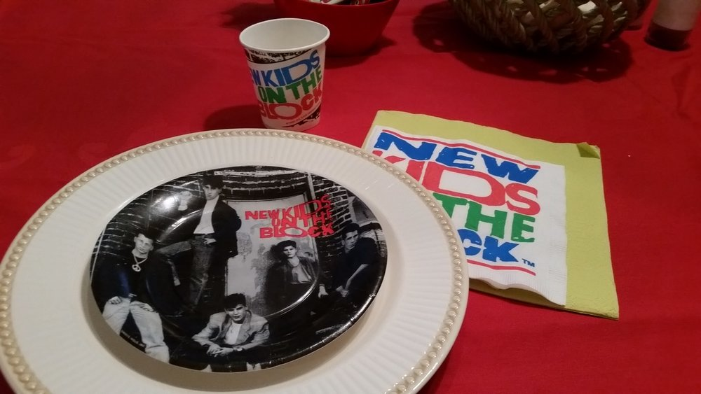 We also had a NKOTB themed birthday party a few years ago and found this party set on eBay.