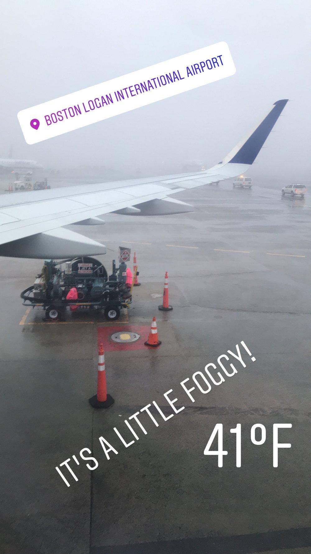 She was a little foggy in Boston when we left