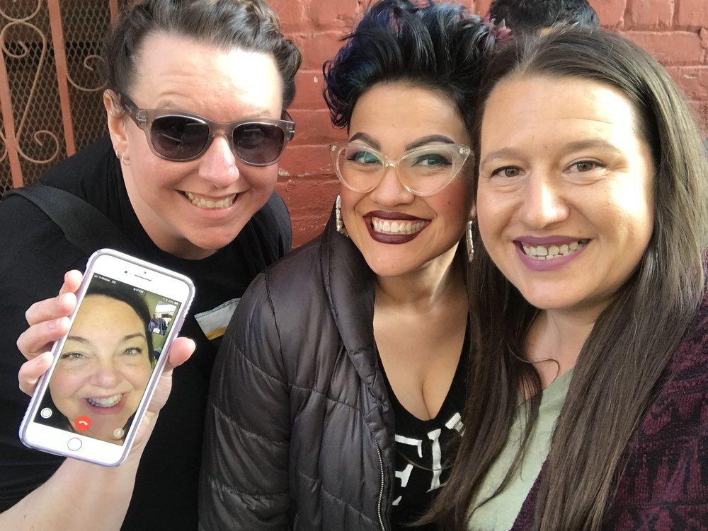 Waiting in line for Joey McIntyre Hollywood Nights - Brooke, Nikki, Charlene, Mandy (photo by Mandy)