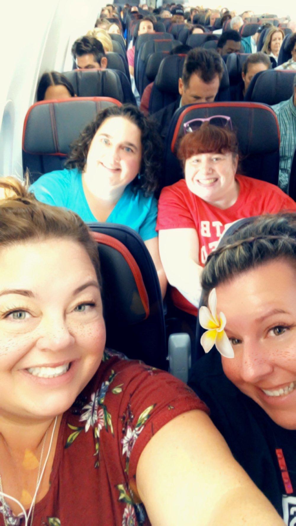 Nikki & Brooke on the plane with Michelle & Amy: Boston to Miami then on to the NKOTB Cruise!