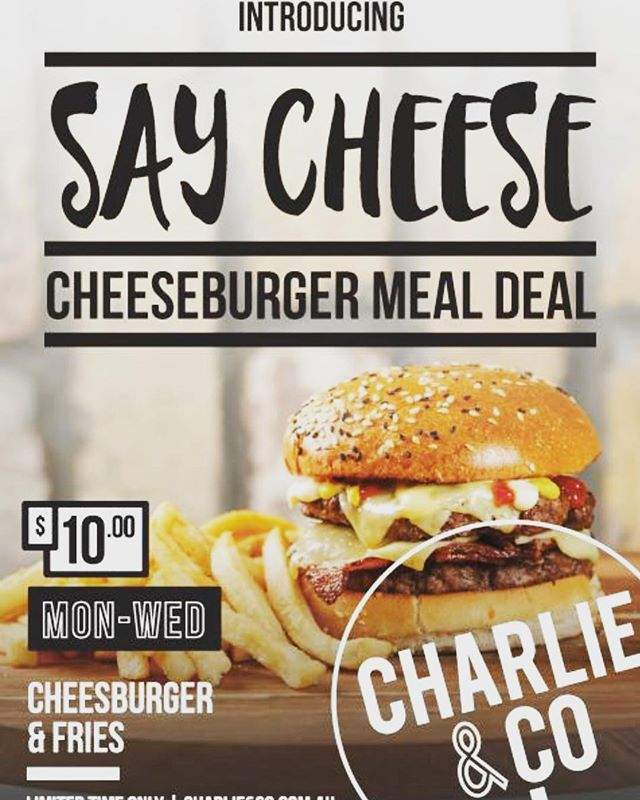 #say #cheese  Get into Melbourne Emporium & Sydney Westfield for your #burgerlunch #charlieandcoburgers  Monday to Wednesday only! 🍔🍟