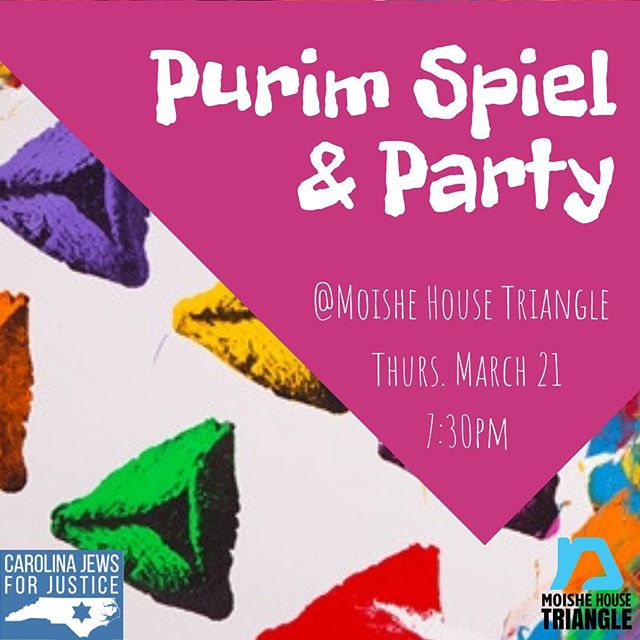 We can't wait to see you all this Thursday for our Purim party! 🎉Be sure to email Brandon for the address (brandon@carolinajewsforjustice.org)