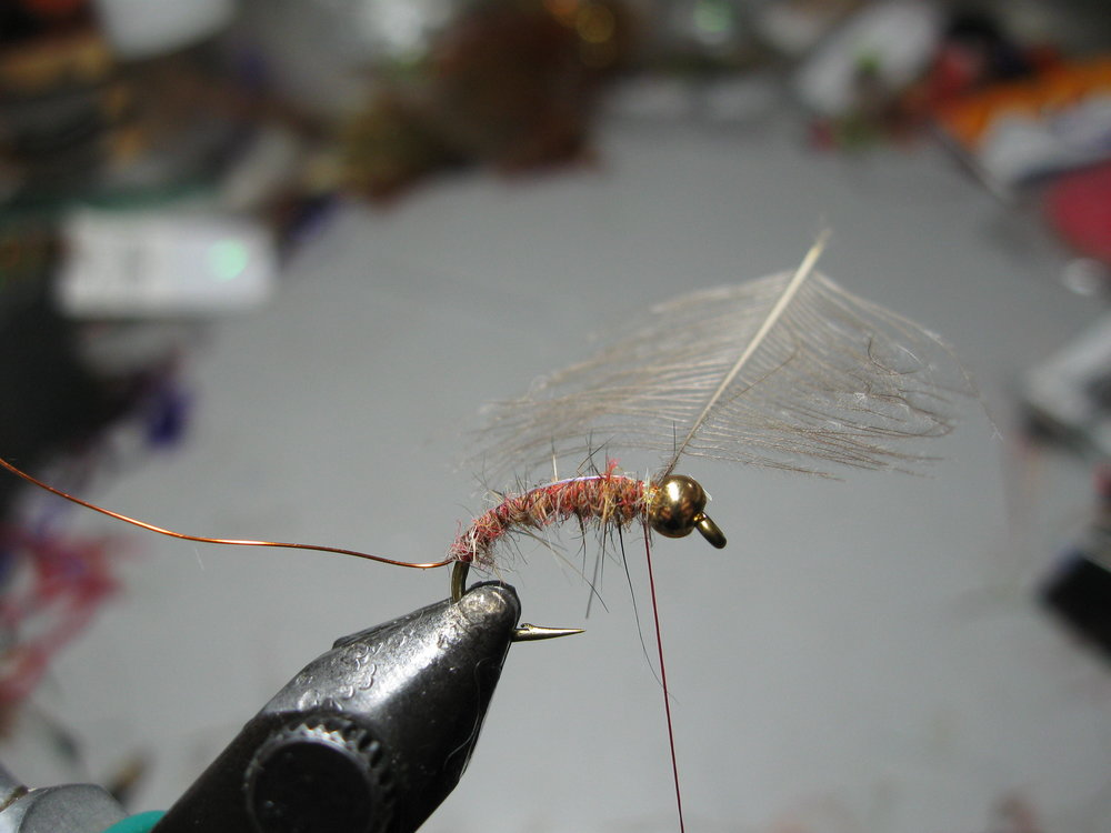 4. Dub the body up to the thoracic area and then bring the Mylar back over the fly. The back tends to slide one way or another, but try to situate exactly in the center.