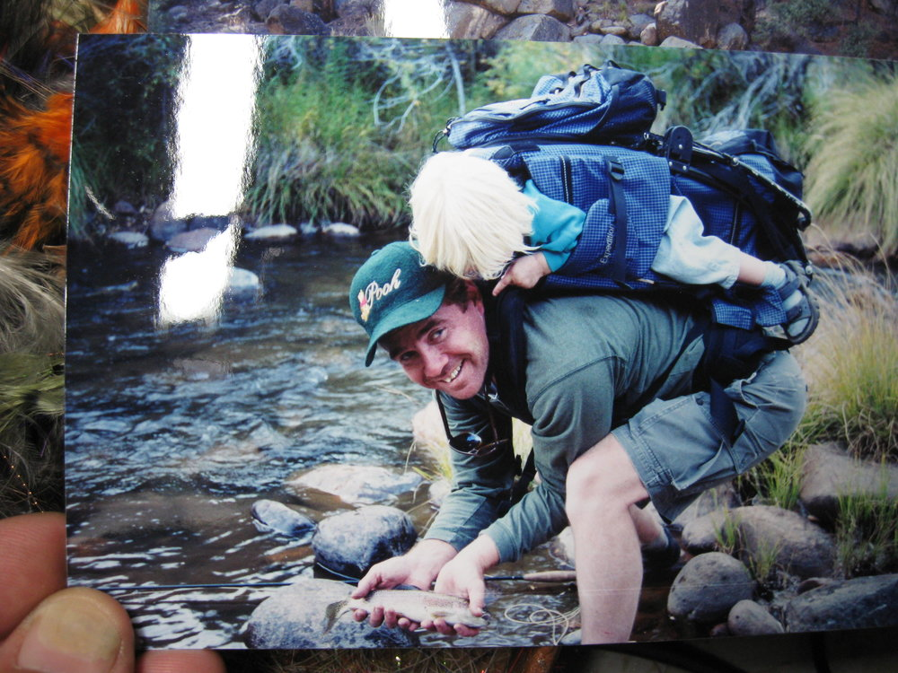 My niece Savannah with her dad on the South Fork of the Kern when she was only 2 years old. Savannah first joined us for fishing hikes when she was just 6 months. She always enjoyed touching (petting) the fish with her finger when she was younger before we released them. :)