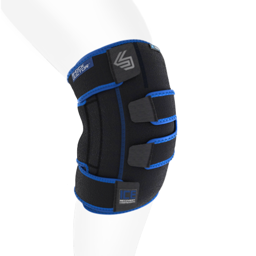 Features & Benefits  The ICE Recovery Compression Knee Wrap is a new revolutionary icing solution for knee sprains, sore knees after running, knee tendonitis, ACL/MCL, or other knee injuries. The wrap fully surrounds the joint and works like professional icing, while being easy to use and less messy than bags of ice.  The penetrating cold helps reduce swelling and pain by extracting heat from the knee through gentle compression and deep 360 degree ice coverage. This cools the knee faster and helps speed the body's natural ability to heal.  Ideal for runners knee, knee tendonitis and other knee injuries  Great for general soreness after workouts, practice or competition  Anatomical design for full coverage and comfort  Dual therapy for cold and heat  Small/Med includes 3 Gel Packs; LG/XL includes 4 Gel Packs     Product includes the exclusive reusable Shock Doctor RE+ cooler bag. This bag keeps the ice wrap cool while away from home and is great for on-the-go cooling.     LATEX FREE   TECHNOLOGY  FEATURES     ANATOMICALLY DESIGNED WRAP  for complete 360 degree coverage & comfort  DUAL HEAT / COLD THERAPY  Compression wrap fully surrounds the knee, while the gel packs can be heated or frozen for the desired therapy.  ADJUSTABLE STRAPS WITH Z-GRIPTM CLOSURES  ice wrap provides customized fit, preferred compression and keeps wrap in place for convenient easy use  EASY ACCESS GEL PACK POCKETS  allows you to easily insert and remove gel packs  PREMIUM N-TEXTM NEOPRENE  for comfort and durability