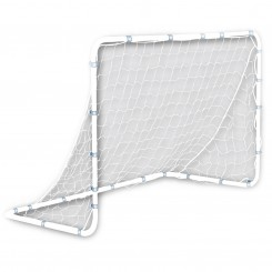 "FEATURES  With this starter version of our popular steel frame soccer goal, you'll be giving your child exactly what they need to start their soccer career off right. Built with heavy-duty rust-resistant steel tubing and all-weather plastic netting, this goal will survive even the roughest conditions. Precision fit locking pins & rust-resistant ground stakes allow for quick and secure assembly, portability and easy storage. With this goal, you'll be the neighborhood practice destination.      DOWNLOAD INSTRUCTION MANUAL PART 1    DOWNLOAD INSTRUCTION MANUAL PART 2   Goal assembles to 6' wide x 4' high x 3' deep  Heavy duty steel tubing, 1.25"" OD  Precision fit locking pins for easy and secure assembly  (4) All weather galvanized ground stakes provide stability  Recommended for training, backyards, league and club practices"
