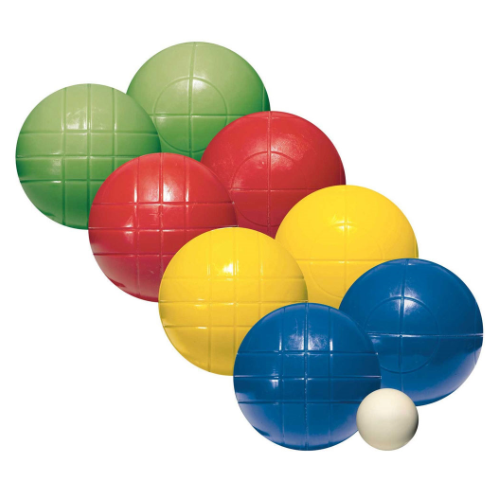 FEATURES  Enjoy a leisurely game of bocce with Franklin's Recreational Bocce Set. Bocce ball is an easy game to teach and learn. The objective is to throw the bigger bocce balls closest to the smaller scoring jack. Teach your kids the classic outdoor game and keep the set handy for family parties or neighborhood cookouts. The recreational set includes eight all-weather molded bocce balls and one 40mm scoring jack.    DOWNLOAD INSTRUCTION MANUAL    DOWNLOAD INSTRUCTION MANUAL   Balls: (8) 90mm all-weather solid molded PE bocce balls, (2) red, (2) yellow, (2) green, and (2) blue  Includes game rules & court layout instructions  Pallino: (1) 40mm (scoring jack)  Ages 8+