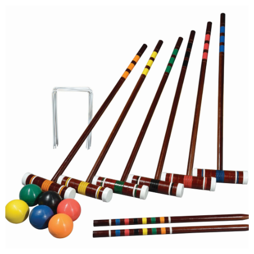 """FEATURES  Franklin's Intermediate Croquet Set includes everything you need to assemble a unique course in your backyard and enjoy hours of family fun. The intermediate set is packed with four durable all-weather molded balls, four wood mallet handles and heads lacquered with a chestnut finish, two painted wood stakes and nine all-weather coated wickets. The object of croquet is simple; create a double-diamond pattern of wickets throughout your backyard or playing field with the wood stakes on each side. Navigate your way through the course and hit stake on each side to claim victory - play individually or in teams of two or three.    DOWNLOAD INSTRUCTION MANUAL   Balls: (6) 2.75"""" all-weather molded balls  Mallets: (6) 7"""" x 1.8"""" wood mallet heads, (6) 26"""" wood mallet handles, lacquered chestnut finish with caps  Stakes: (2) 18"""" painted wood stakes  Wickets: (9) all weather coated bent wire wickets  Package: Traditional carry bag  Includes game rules & court layout instructions  Ages 8+"""