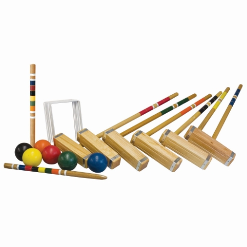 """FEATURES  Step your croquet game up to the next level with Franklin's Advanced Croquet Set. This storied outdoor game set includes six all-weather molded balls, six mallet handles, and heads lacquered with a chestnut finish, two painted wood stakes, nine all-weather coated wickets plus a deluxe carrying bag to keep it all organized and compactly stored. Whether you've been playing croquet for years or are trying to pick it up again, this advanced set has everything you need to start navigating your way through the wickets today.  DOWNLOAD INSTRUCTION MANUAL   Balls: (6) 3.31"""" all-weather molded balls  Mallets: (6) 9"""" x 2"""" wood mallet heads, (6) 28""""wooden handles  Stakes: (2) 18"""" painted wood stakes  Wickets: (9) all weather coated bent wire wickets  Package: Deluxe carry bag  Includes game rules & court layout instructions  Ages 8+"""