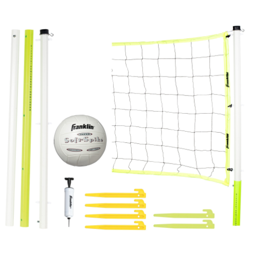 """FEATURES  You'll never look at your backyard the same way again after setting up Franklin's Advanced Volleyball Equipment. Everyone from your friends, family and kids will have a blast playing a fun game of volleyball outside on a sunny day. The advanced set includes everything you need to set up and play from an official size volleyball and mini-pump to tension clips and ground stakes to support the sturdy net. No matter your level of play, Franklin's Advanced Volleyball Equipment is enjoyed by all.  DOWNLOAD INSTRUCTION MANUAL   Volleyball: Official size SOFT SPIKE® volleyball with mini pump & needle  Poles: 1.5"""" diameter telescoping octagon, virgin PVC poles with scoring system, 3 playing heights (96"""", 86"""", 78"""")  Net: 30' x 32"""" x 4""""  Net Clips: (6) Net-Saver net clips  Tape: 4 sided tape construction  Stakes: (6) ground stakes  Other: Official volleyball boundary marker kit (4-flags, 4-hooks, 180' cord)  Innertech net design with added reinforcement to keep net tight!  Package: Deluxe carry bag"""