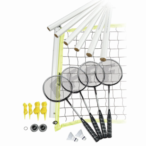 FEATURES  Franklin's Advanced Badminton set is perfect for family parties, day trips to the beach, or simple backyard entertainment. The set includes enough equipment for up to four individuals, so play between two people or in teams of doubles. Two A-grade shuttlecocks are included along with a 20 foot net that is easy to assemble and features four-sided tape construction and mounting hardware that keep the net taut. The rackets are of the best quality and feature a tempered steel shaft, tight stringing, and a soft-touch padded grip. Also included is a deluxe storage bag making it easy to keep all the net hardware organized and secure when not in use.    DOWNLOAD INSTRUCTION MANUAL