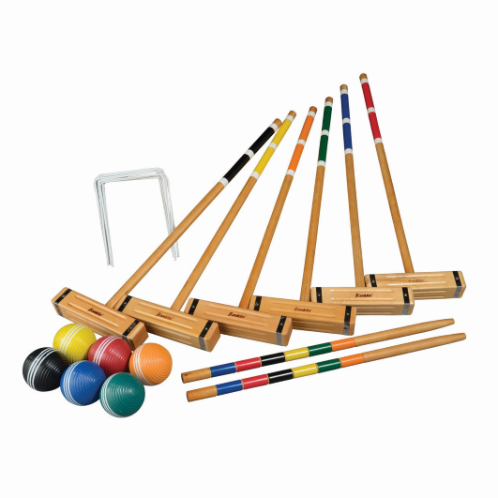 """FEATURES  Franklin's Classic Croquet Set is the perfect addition to any backyard. Ideal for family parties, company cookouts or just a great way to enjoy a sunny afternoon outside with your friends, this classic croquet set comes with everything you need to play. The set includes six all-weather molded balls, six wooden mallets with custom knurled heads, two painted wood stakes, nine all-weather coated wickets and a deluxe carrying bag to keep all the parts neatly organized and compactly stored when not in use.  DOWNLOAD INSTRUCTION MANUAL   Balls: (6) 3.31"""" all-weather molded balls  Mallets: (6) 9"""" x 2"""" wood mallet heads, (6) 29.5"""" natural wood shafts  Stakes: (2) 24"""" painted wood stakes  Wickets: (9) all weather coated bent wire wickets  Package: Deluxe carry bag  Includes game rules & court layout instructions  Ages 8+"""