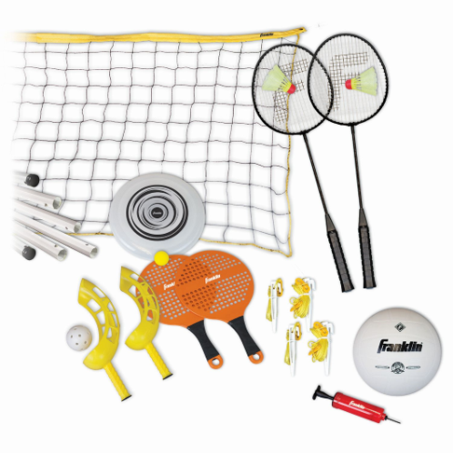 "FEATURES  Outfit your backyard with all of the best outdoor games found in Franklin's 5 Game Combo Set. This set features poles, a net and all the accessories needed for Badminton, Volleyball, Flip-Toss, Paddleball and Frisbee - you'll even find a mini pump with a needle to blow up the volleyball. This is a great idea for family reunions, barbecues or friendly get-togethers. Organize a tournament, pick teams and enjoy outdoor fun all day long.   DOWNLOAD INSTRUCTION MANUAL   Poles: 3/4""W x 7' 1""H with adjustable height features  Net: 20'W x 4""D x 1-1/2""H  Games include badminton, volleyball, flip-toss, paddleball and Frisbee  Includes mini pump with needle"
