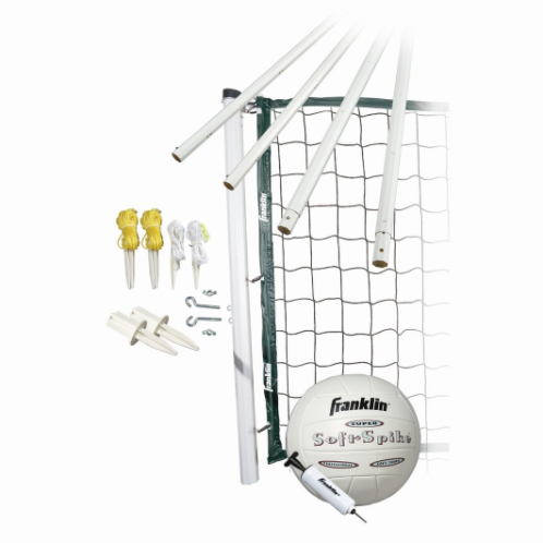 """FEATURES  Franklin's Classic Volleyball Equipment is the perfect complement to a beautiful sunny day. Set up this classic volleyball net at the lake, in your backyard or bring it along to a family picnic or company barbecue. A friendly game of volleyball is a great way to bond with co-workers or enjoy a relaxing day with family and friends. This classic outdoor volleyball set comes with everything you need to play including a deluxe carrying bag for compact storage.  DOWNLOAD INSTRUCTION MANUAL   Volleyball: Official size and weight performance SOFT SPIKE® volleyball with inflation pump  Poles: 1.75"""" diameter telescoping octagon virgin PVC poles with scoring system. 3 playing heights (96"""", 86"""", 78"""")  Net: Official size 32' x 32"""" x 4"""" with deluxe tarpaulin binding and top net cable for increased net tension and performance  Tape: 4 sided tape construction  Mounting Hardware: Complete preassembled mounting hardware  Innertech net design with added reinforcement to keep net tight!  Package: Deluxe carry bag"""