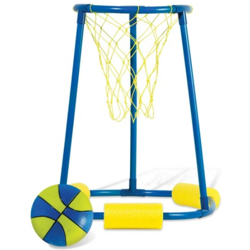 "FEATURES  Huge design for endless hours of fun!  (3) extra large floats for unmatched stability  Three tiered rim system for increased playability  Comes ready to play with (1) Aqauticz basketball  Size: 20"" x 24"""