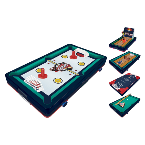 "FEATURES   DOWNLOAD INSTRUCTION MANUAL   Tabletop competition at its best!  Billiards, glide hockey, flipper soccer, bowling, basketball shoot out  Easily converts from game to game!  Ages 6+  Size: 18.5"" x 10.5"" x 3"""